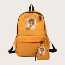 2pcs Girls Pocket Front Backpack Set