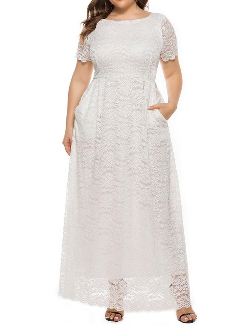 Ericdress Short Sleeve Floor-Length Hollow Women's A-Line High Waist Dress