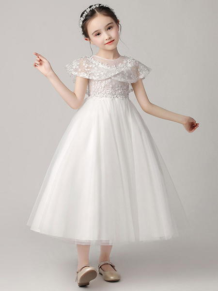 Milanoo Flower Girl Dresses Jewel Neck Tulle Sleeveless Ankle Length Princess Silhouette Embroidered Kids Party Dresses