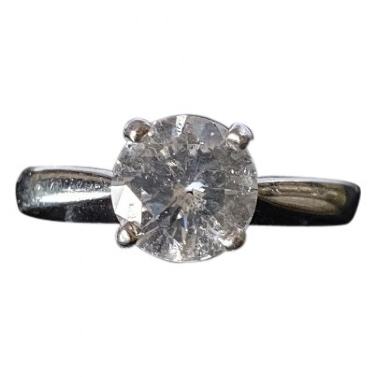 Non Signé / Unsigned Solitaire Silver Platinum ring for Women \N