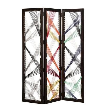 BM205868 Contemporary 3 Panel Wooden Screen with Woven String Design