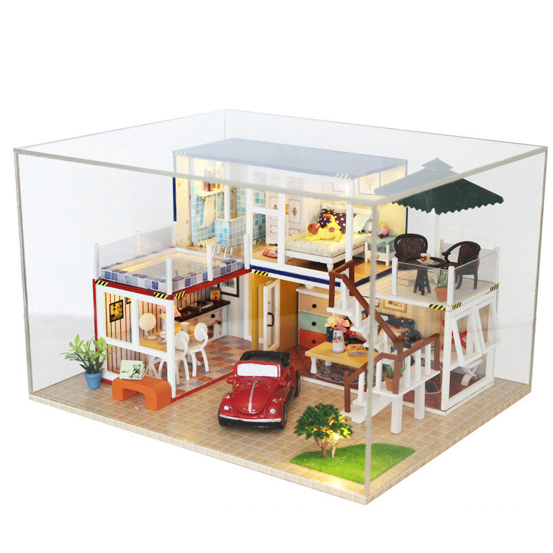 Hoomeda 13842Z Japanese Style DIY Dollhouse Kit With Music Cover Light