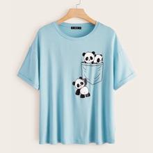Plus Drop Shoulder Cuffed Sleeve Panda and Pocket Print Top