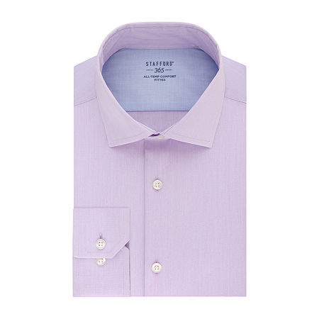 Stafford Mens Wrinkle Free 365 All-Temp Flex Collar Fitted Dress Shirt, 16-16.5 34-35, Purple