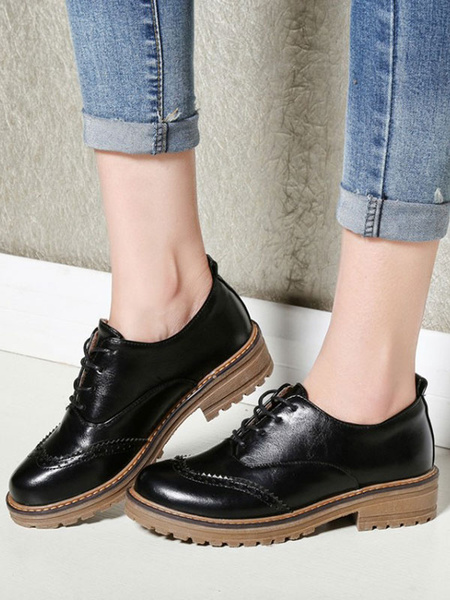 Milanoo Women Black Oxfords Classic PU Leather Round Toe Lace Up Casual Shoes