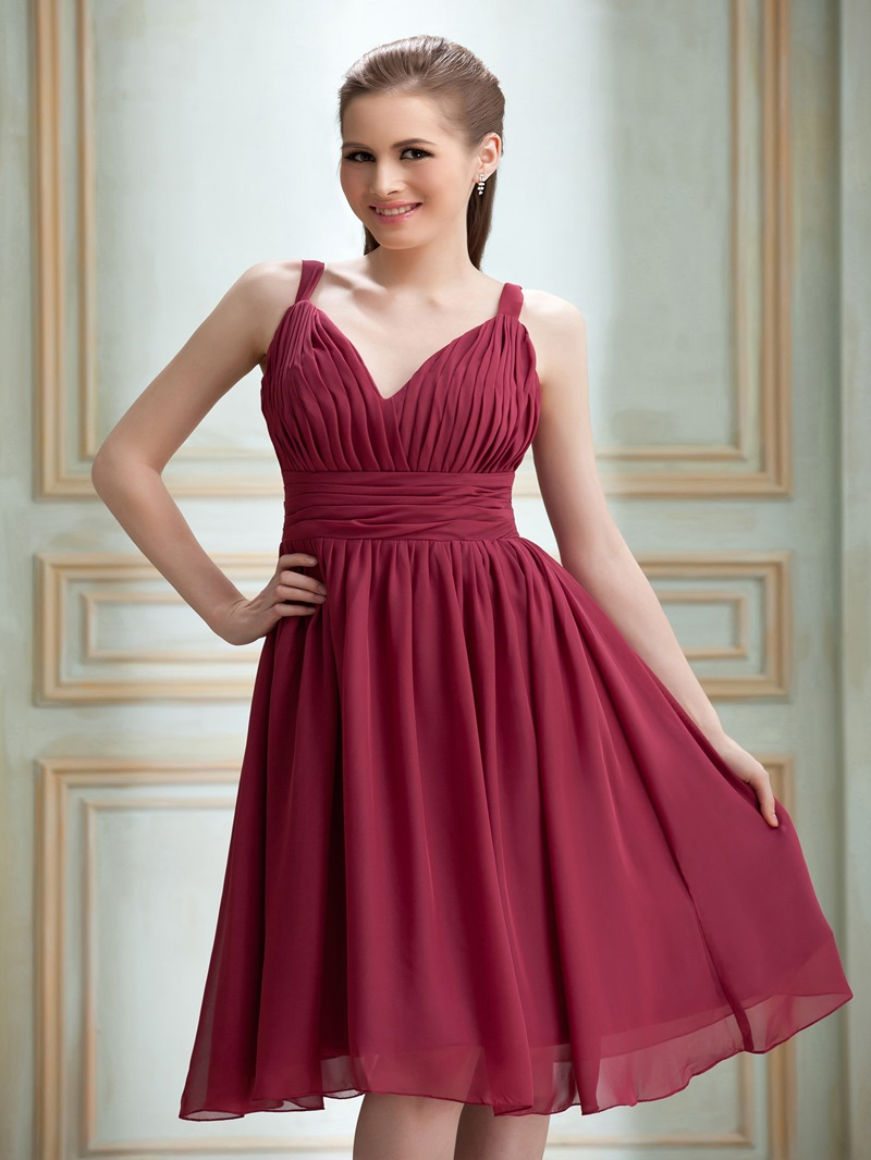 Elegant A-Line V-Neck Knee-Length Bridesmaid Dress