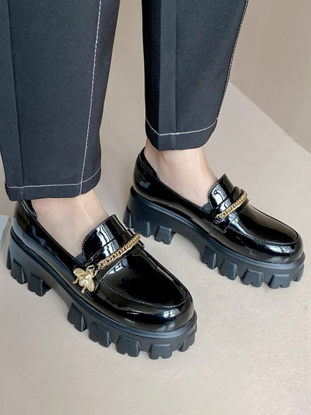 Milanoo Black Flatform Loafers Women Round Toe Metal Detail Slip On Shoes Casual Shoes