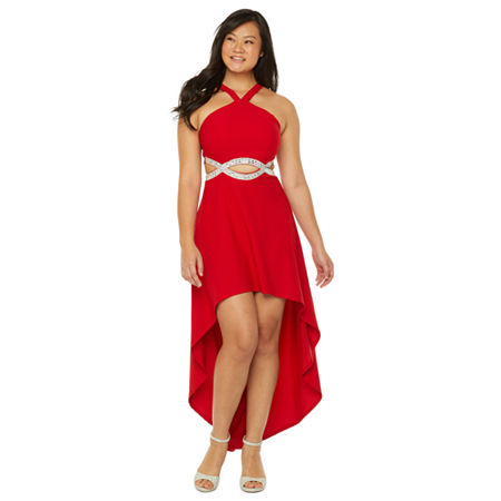 Speechless Sleeveless High-Low Party Dress-Juniors, 13 , Red