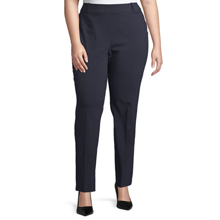 Liz Claiborne Millenium Pull On Straight Pant - Plus, 18w Short , Blue
