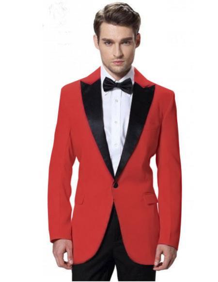 Mens Red Jacket Black Lapel Tuxedos Pant 1 Button Elegant SlimFit Suit