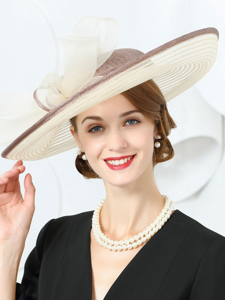 Milanoo Vintage Sun Hat Champagne Bows Royal Headpieces Summer Retro Hair Accessories Costume Halloween