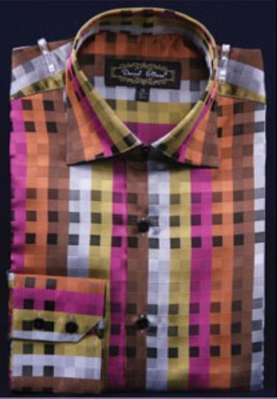 Mens High Collar Club Rust Fancy Square Pattern Shirt