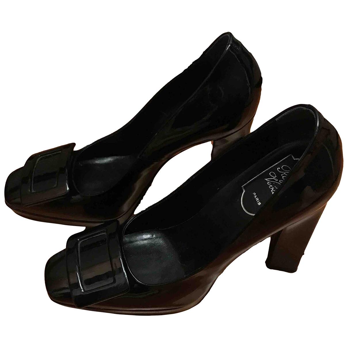 Roger Vivier Belle Vivier Black Patent leather Heels for Women 39 EU