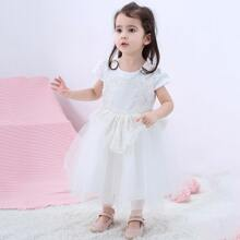 Toddler Girls Tie Back Appliques Detail Tulle Party Dress