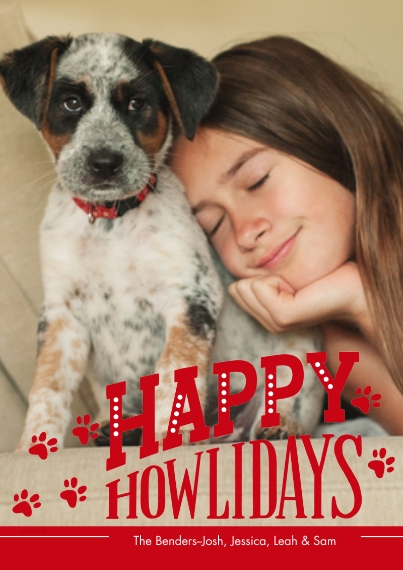 Christmas Photo Cards 5x7 Cards, Premium Cardstock 120lb, Card & Stationery -Happy Howlidays & Paw Prints Photo Card by Hallmark