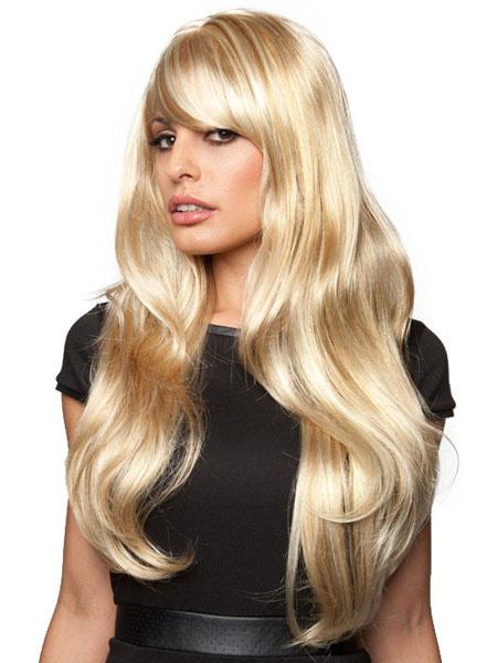 Milanoo Long Blonde Wigs Women's Wave Wig With Bangs In Heat-resistant Fiber