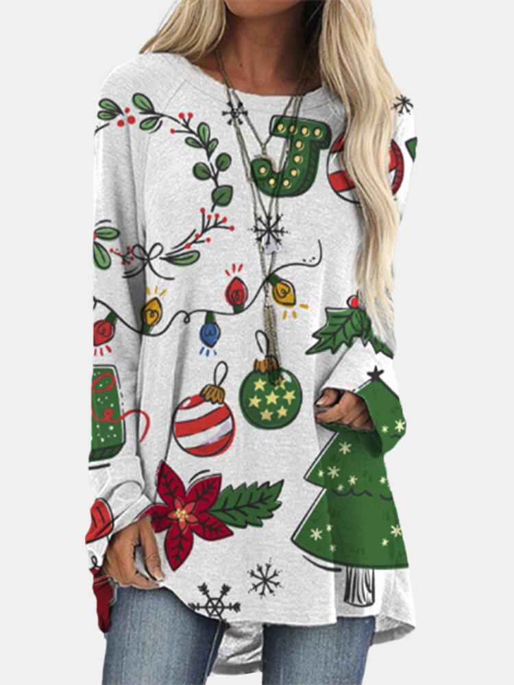 Christmas Prints Long Sleeves O-neck Casual T-shirt For Women
