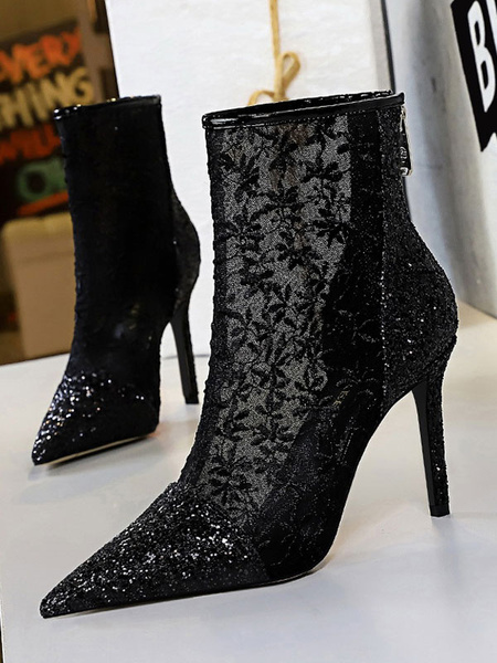 Milanoo Women Ankle Boots Black Lace Pointed Toe Sequins Stiletto Heel High Heel Booties