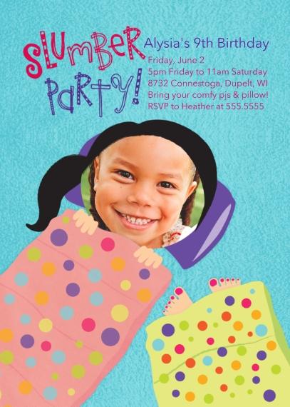 Kids Birthday Party Invites 5x7 Folded Cards, Standard Cardstock 85lb, Card & Stationery -Slumber Party Birthday
