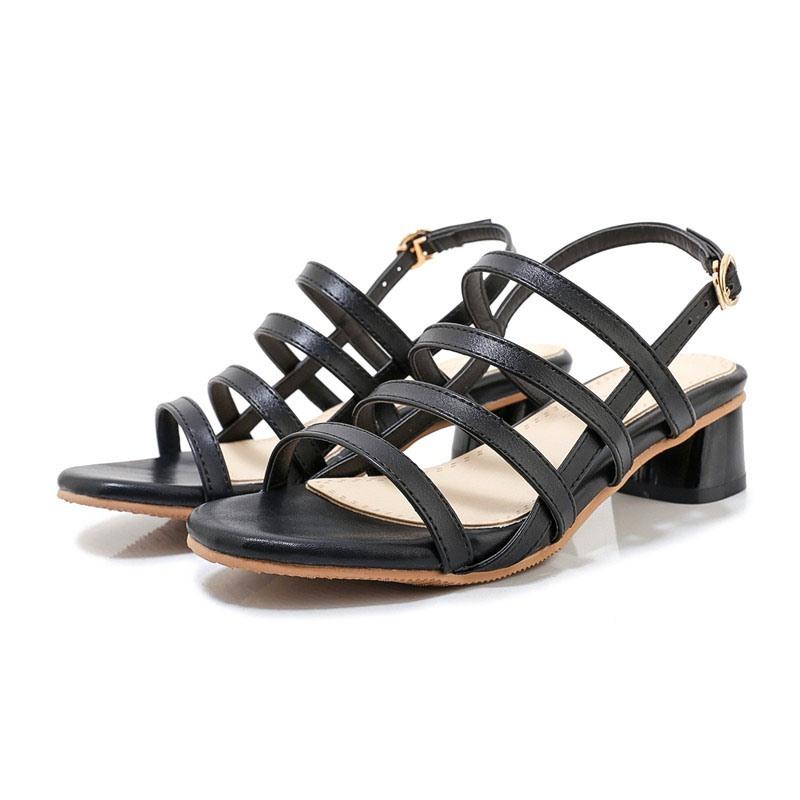 Ericdress Block Heel Open Toe Buckle Hollow Sandals
