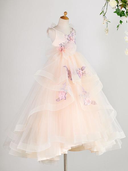 Milanoo Flower Girl Dresses V Neck Sleeveless Pearls Tulle Kids Social Party Dresses
