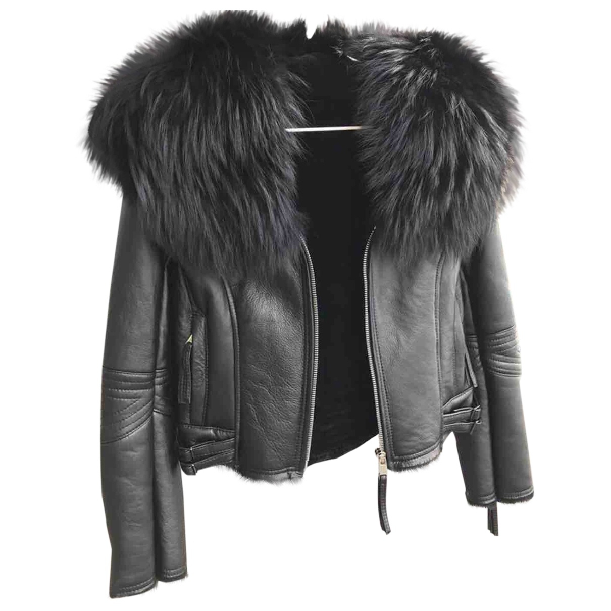 Non Signé / Unsigned \N Black Raccoon Leather jacket for Women 40 IT