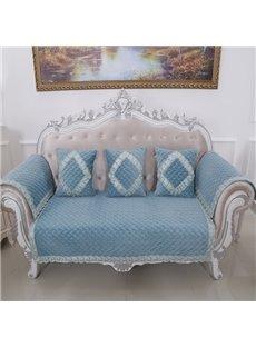 Classical Blue Velvet Embroidery Design Cushion Slip Resistant Sofa Covers