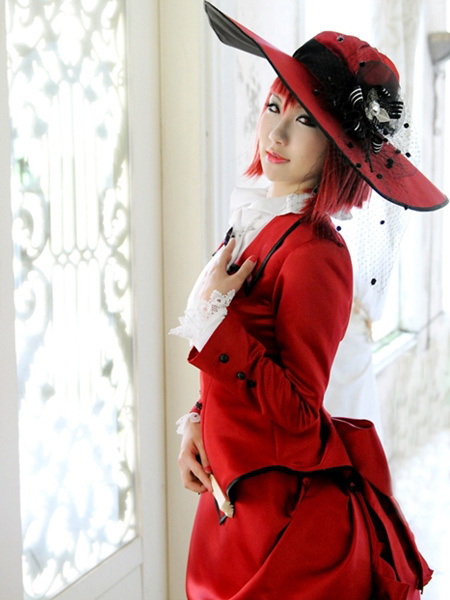 Milanoo Black Butler Madam Red Angelina Dalles Cosplay Costume Halloween