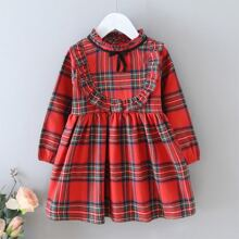 Toddler Girls Frill Neck Ruffle Trim Tartan Dress