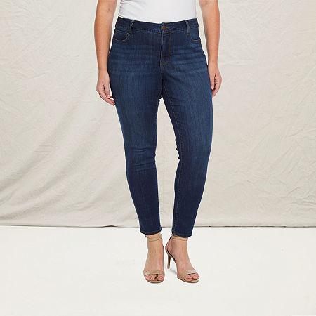 a.n.a-Plus Womens 5 Pocket Skinny Jean, 18w , Blue