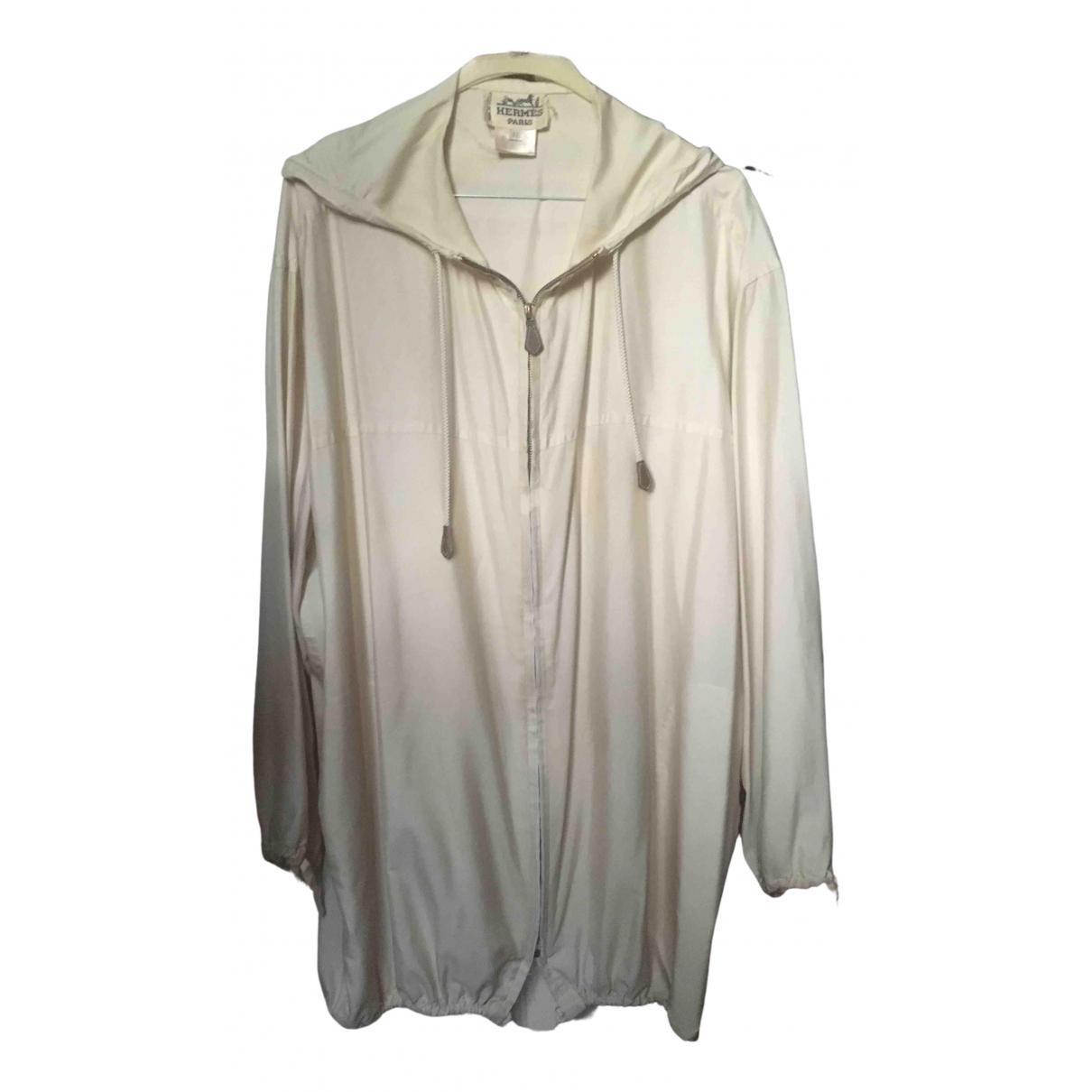 Hermès \N Ecru Silk Leather jacket for Women 42 FR