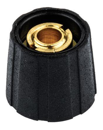 Sifam Potentiometer Knob, Collet Type, Black, 6.35mm Shaft (10)