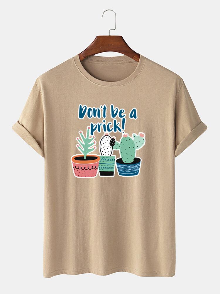 Men 100% Cotton Cartoon Cactus Printed Casual T-Shirt