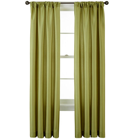 Studio Light-Filtering Rod-Pocket Single Curtain Panel, One Size , Green