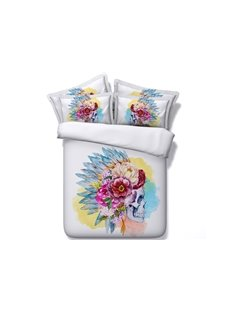 Tribal Skull with Flowers Printed Cotton 4-Piece 3D White Bedding Sets/Duvet Covers