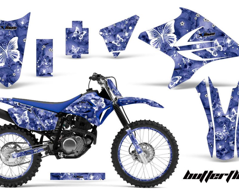 AMR Racing Graphics MX-NP-YAM-TTR230-05-18-BF W U Kit Decal Sticker Wrap + # Plates For Yamaha TTR230 2005-2018 BUTTERFLIES WHITE BLUE