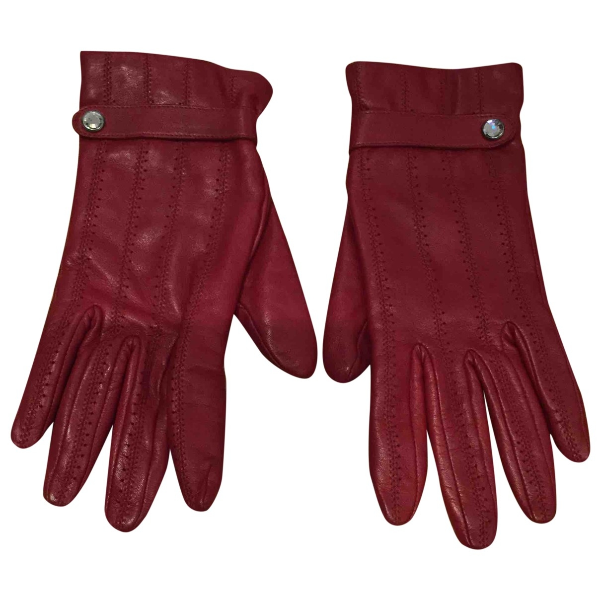 Non Signé / Unsigned \N Red Leather Gloves for Women 8 Inches