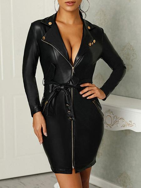 Milanoo Black Bodycon Dress Leather Like Sexy Club Dress
