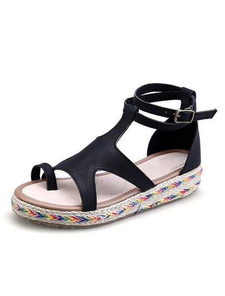 Milanoo Women Casual Sandals Toe Ring Cut Out Strappy Buckled Women Open Toe Sandals