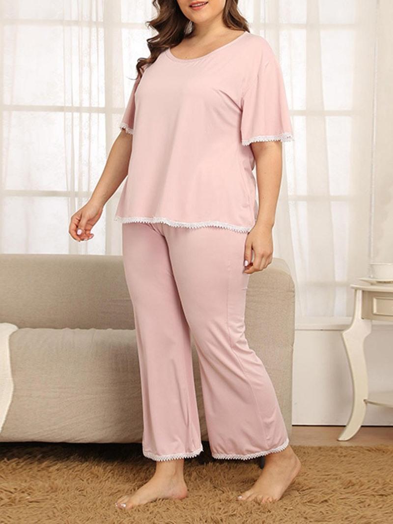 Ericdress Polyester Color Block Casual Sleep Top Short Sleeve Pajama Suit