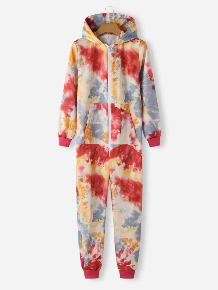 Women Plus Size Multi-Color Tie Dye Zipper Front Hooded Jumpsuit Home Sleepwear Onesies