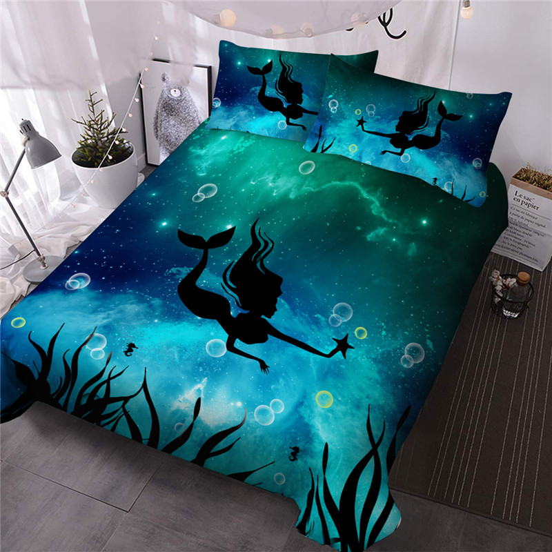 Mermaid  Print Comforter Set Reactive Printing Three-Piece Set Polyester Bedding Sets Ultra-soft No-fading Twin Full Queen King