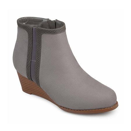Journee Collection Womens Padme Booties Wedge Heel, 6 1/2 Medium, Gray