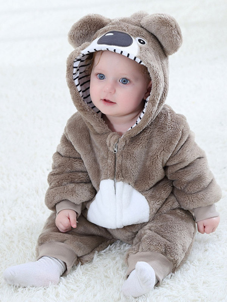 Milanoo Pajamas Kigurumi Onesie Toddler Koala Flannel Jumpsuit