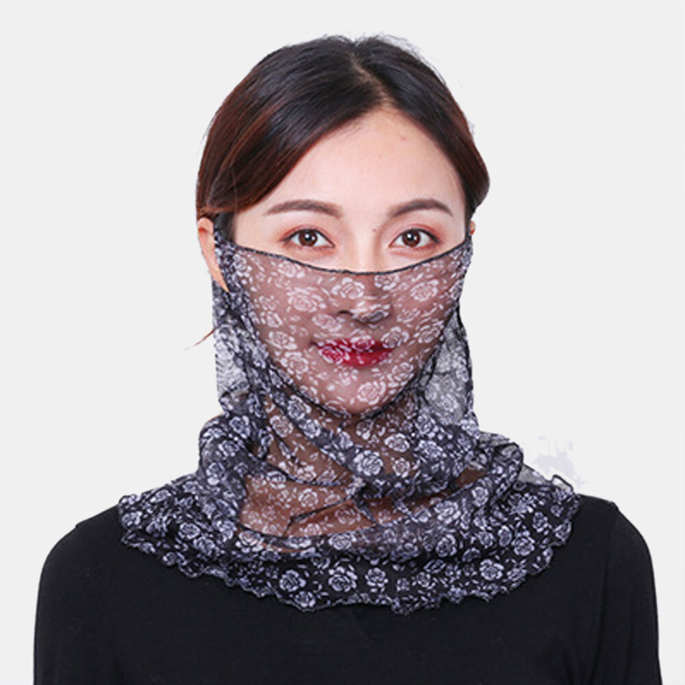 Floral Breathable Printing Masks Neck Protection Sunscreen Ear-mounted Scarf