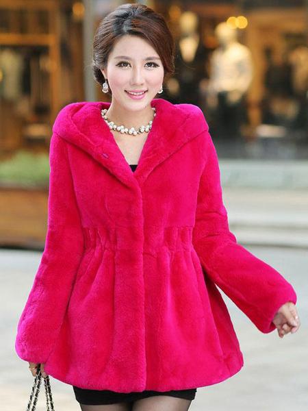 Milanoo Faux Fur Coat Women Hooded Coat Pockets Winter Coat