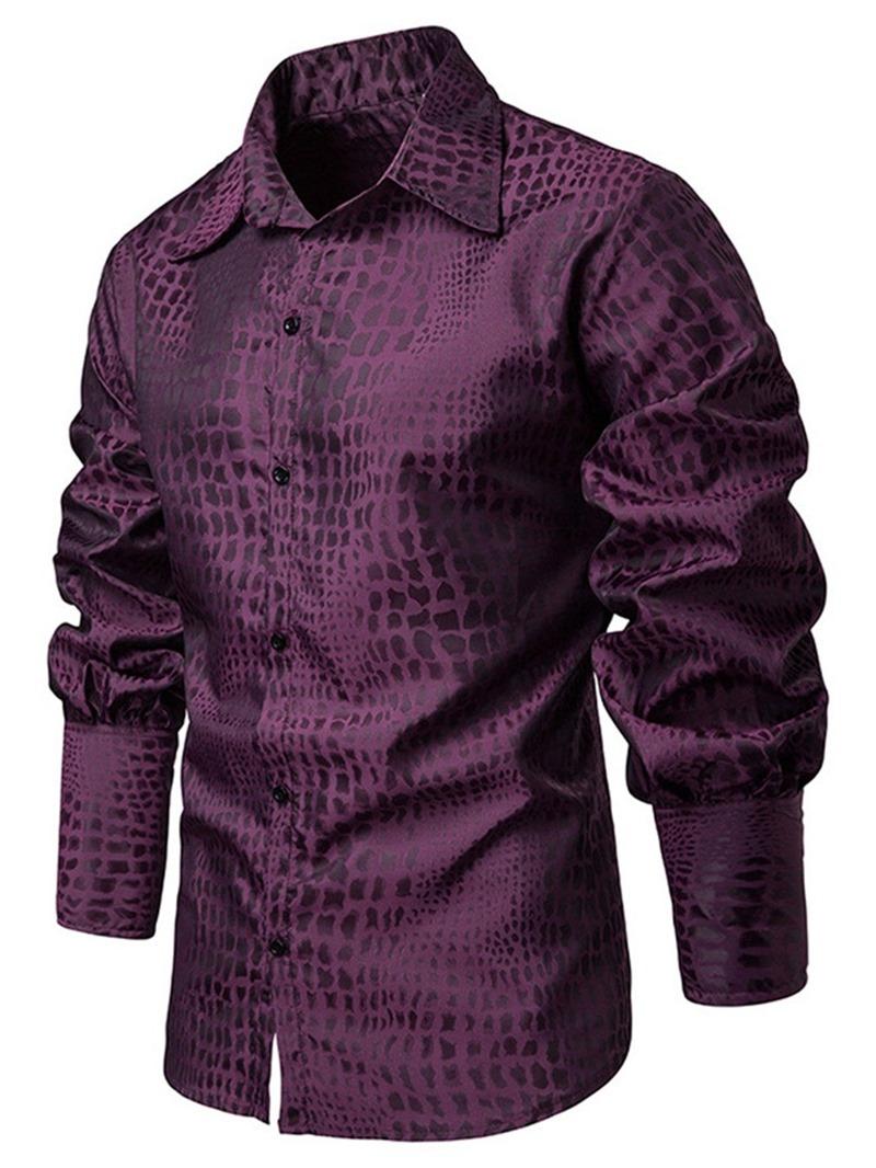 Ericdress Plain Printed Lace Up Lapel Mens Casual Shirt