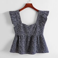 Allover Plants Print Ruffle Armhole Peplum Top
