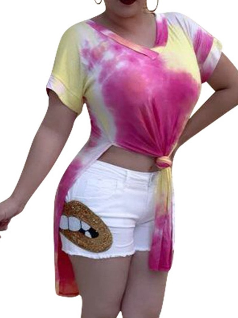 Ericdress Color Block V-Neck Long Summer T-Shirt