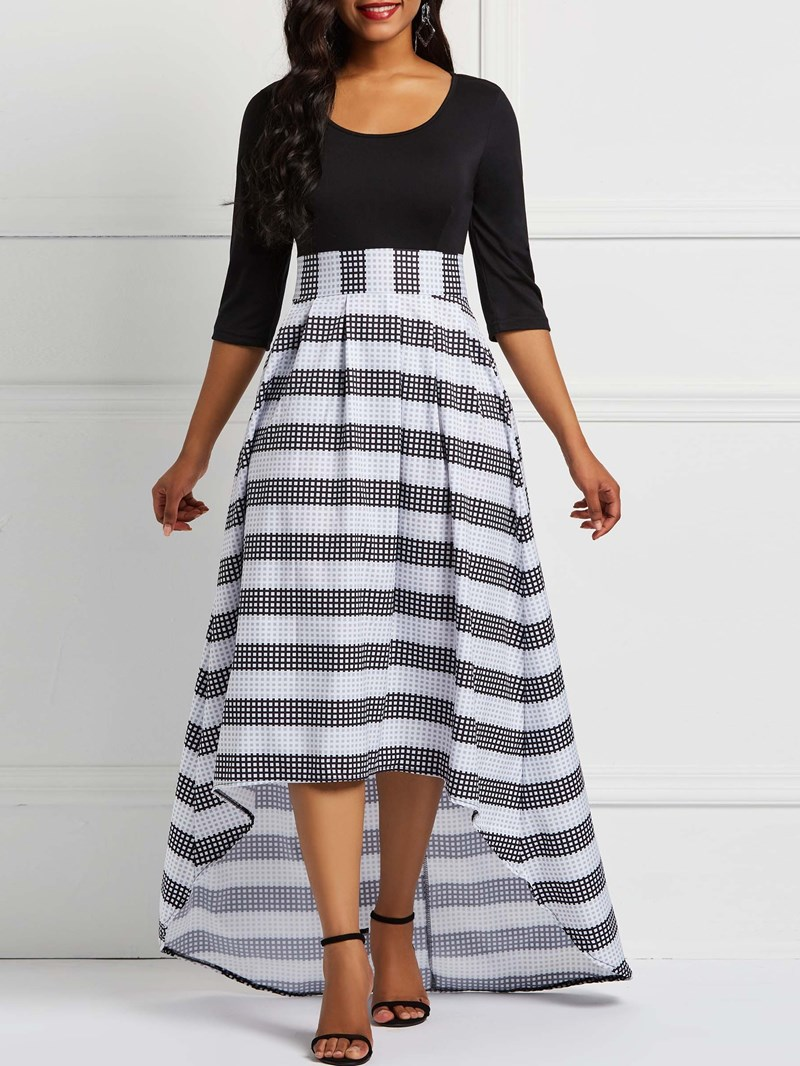 Ericdress Round Neck Stripe Casual Expansion Dress